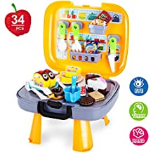 [Patrocinado] Kitchen Cutting Toys,Chef Playsets -34Pcs with Food Accessories and Kitchenware Box,Pretend Play Food Toys for Boys & Girls by Kidcia