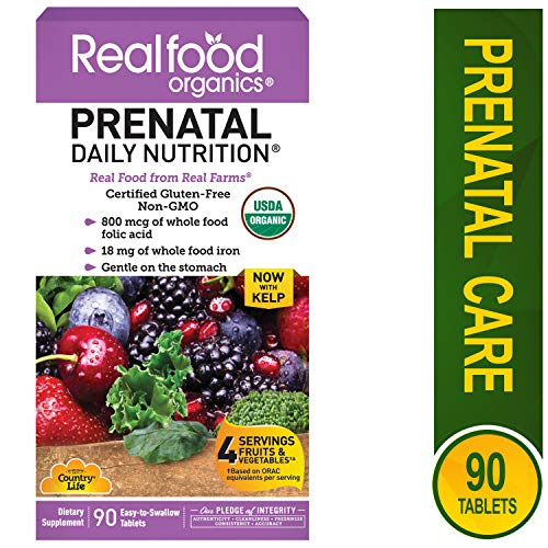 Country Life Real Food Organics Prenatal Multivitamin Tabs, 90 ct