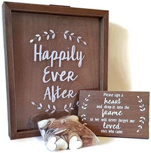 Happily Ever After Guest Book Bundle with Heart Drop Instruction Sign and 200 Wooden Hearts