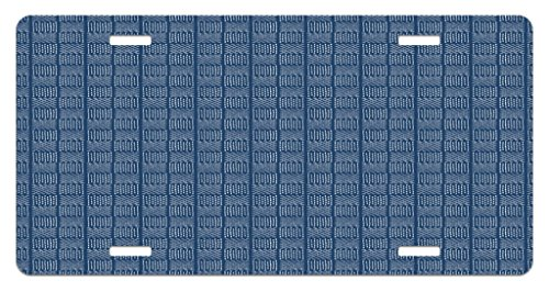 Lunarable Blue and White License Plate, Abstract Basketweave-Like Pattern Dashed Lines Digital Image Print, High Gloss Aluminum Novelty Plate, 5.88 L X 11.88 W Inches, Night Blue and White