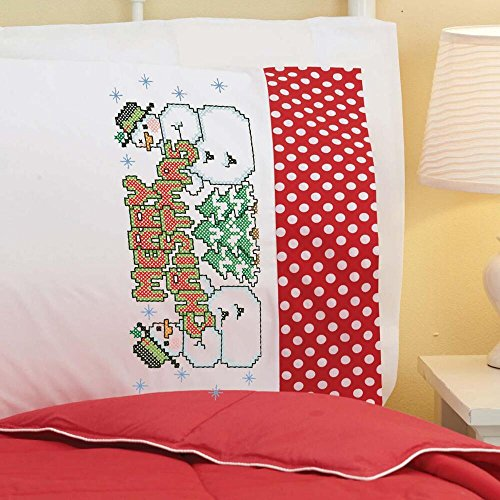 Herrschners® Snow Buddies Cuffed Pillowcase Pair Stamped Cr