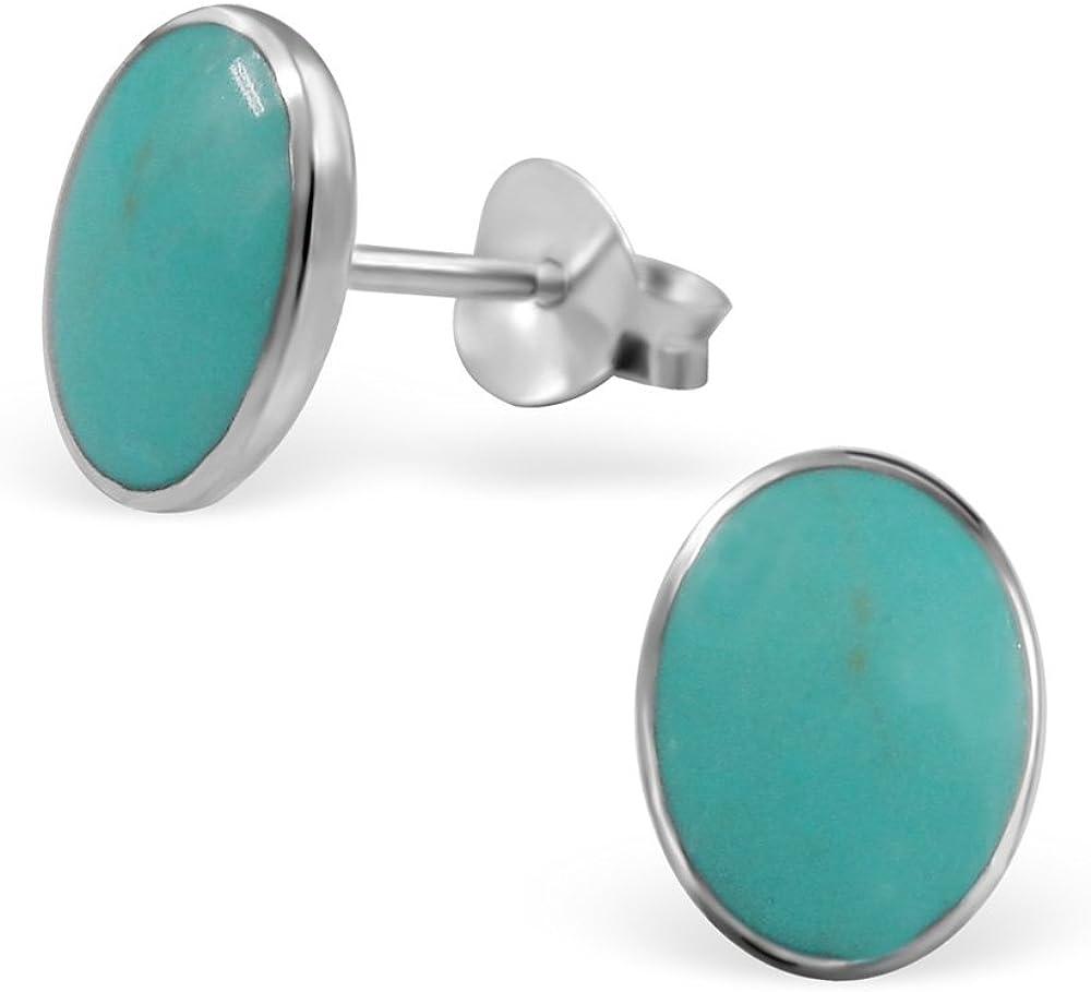 laimons–Pendientes para mujer joyería femenina ovalado diseño placa turquesa plata de ley 925