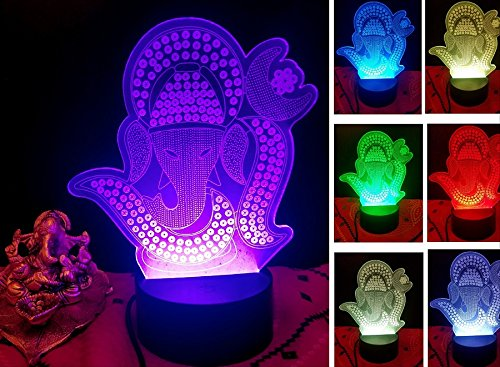 3D Smart Table lamp with Interesting 7 Different Color Changing Mode (Bhagwan Ganesh) -