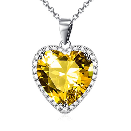 Yellow December Birthstone Love Heart Pendant Necklace Sterling Silver Solitaire Cubic Zircon Women Jewelry Set (December-Turquoise)