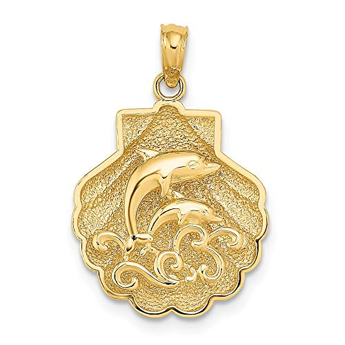 FB Jewels 14K Yellow Gold Shell with Mini Double Dolphins and Waves 2D and Textured Pendant (Wave Textured Pendant)