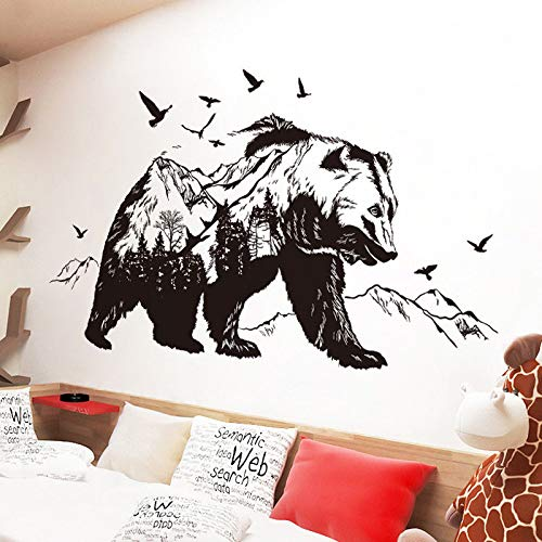 Clock Bond Metal (Wall Sticker SoungNerly Art Stickers Living Room Sofa Background Wall Decoration Wallpaper self-Adhesive Dormitory Indoor Wallpaper, Black Bear Applique)