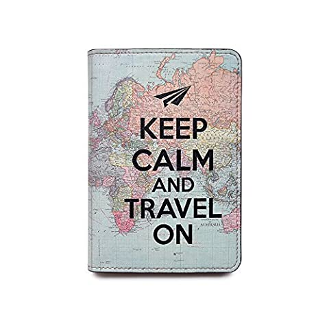 Novelty Leather Passport Cover - Vintage Passport Wallet - Travel Accessory Gift - Keep Calm and Travel World Map Cover - Travel Wallet for Women and - Vintage Leather Accessories