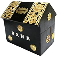 PEBBLE CRAFTS Handicrafted Wooden Money Bank Home Style Black Kids Piggy Coin Box Gifts