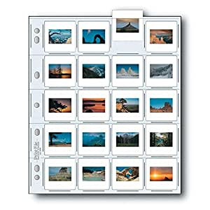 "Print File Archival Storage Page for Slides, 35mm (2x2""), Holds 20 Slides, Top-Load, Heavyweight (8-Mil), Clear Back (Binder Only) - Pack of 25"