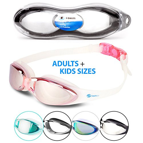 i Swim Pro Swimming Goggles – Adult and Kids Sizes - No Leaking, Anti-Fog, UV Protection, Crystal Clear Vision with Protective Case - Comfortable Fit For Adults, Men, Women, - I A Round Face Have