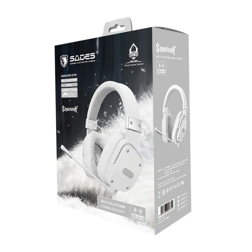 SADES Gaming- Headset für PS4, Snowwolf, kabelgebundene Over-Ear-Gaming-Kopfhörer mit Stereo-Sound, 3,5 mm Klinke, abnehmenbares Mikrofon und Lautstärkeregelung, für PC, Tablet, Laptop