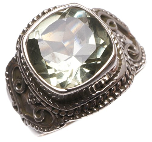 StarGems(tm) Natural Green Amethyst Handmade Indian 925 Sterling Silver Ring, size 5.5 U1757 (Green Ring Roberto Coin)