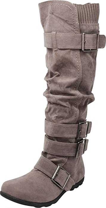 Cambridge Select Womens Buckled Strap Stretch Calf Knee-High Riding Boot