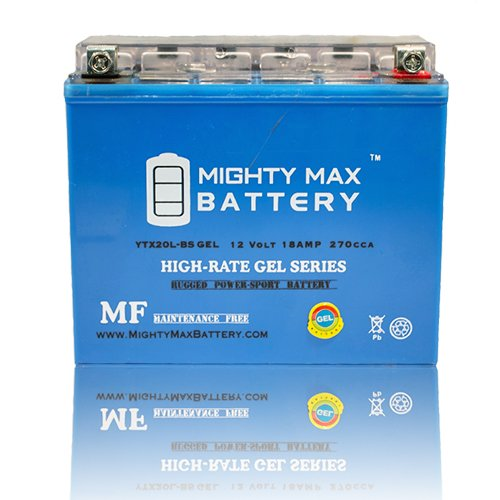 YTX20L-BS GEL Battery for Yamaha XVS1300CT V-Star 1300 Tourer 08-15 - Mighty Max Battery brand product (Tourer V-star Yamaha 1300)