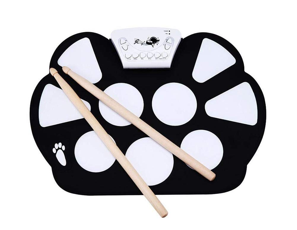 Electronic drum Set,Portable Professional Drum Electronic Roll Up Drum Pad Kit Silicon Foldable with Stick Record Function Send Drum Sticks and Pedals by Electronic drum