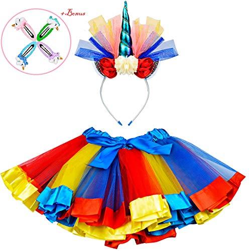 Tutu Skirt with Unicorn Headband, Layered Rainbow Dress Costume for Little Girls