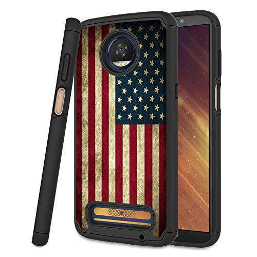 AuGcGoGo Moto Z3 Case, Moto Z3 Play Case, Hybrid Dual Layer Protection Case Compatible with Motorola Moto Z3 for Girls and Women 2018 Released - US Flag
