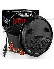 Black Bull BBQ Dutch oven set [9L] - Ingebrande vuurpot van gietijzer met voeten & deksel - Met spiraalgreep voor optimale houvast - incl. deksellifter