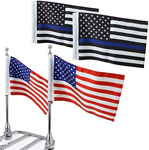 The American Flag /& United We Stand Flag GUAIMI License Plate Mounted Double Flag Holder Double Motorcycle Flags