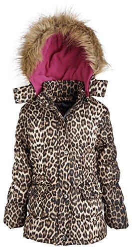 Sportoli8482; Girls Down Alternative Fleece Lined Puffer Coat with Detachable Hood - Lollipop Leopard (Size 14)