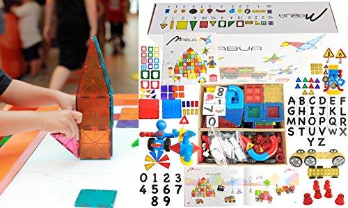 LARGE KIDS MAGNETIC TOYS 3D BUILDING ROBOTS BLOCK TILES 150 Pieces Set CLICKINS PUZZLE 26 ALPHABETS LETTERS 10 (Letter White Six Sets)