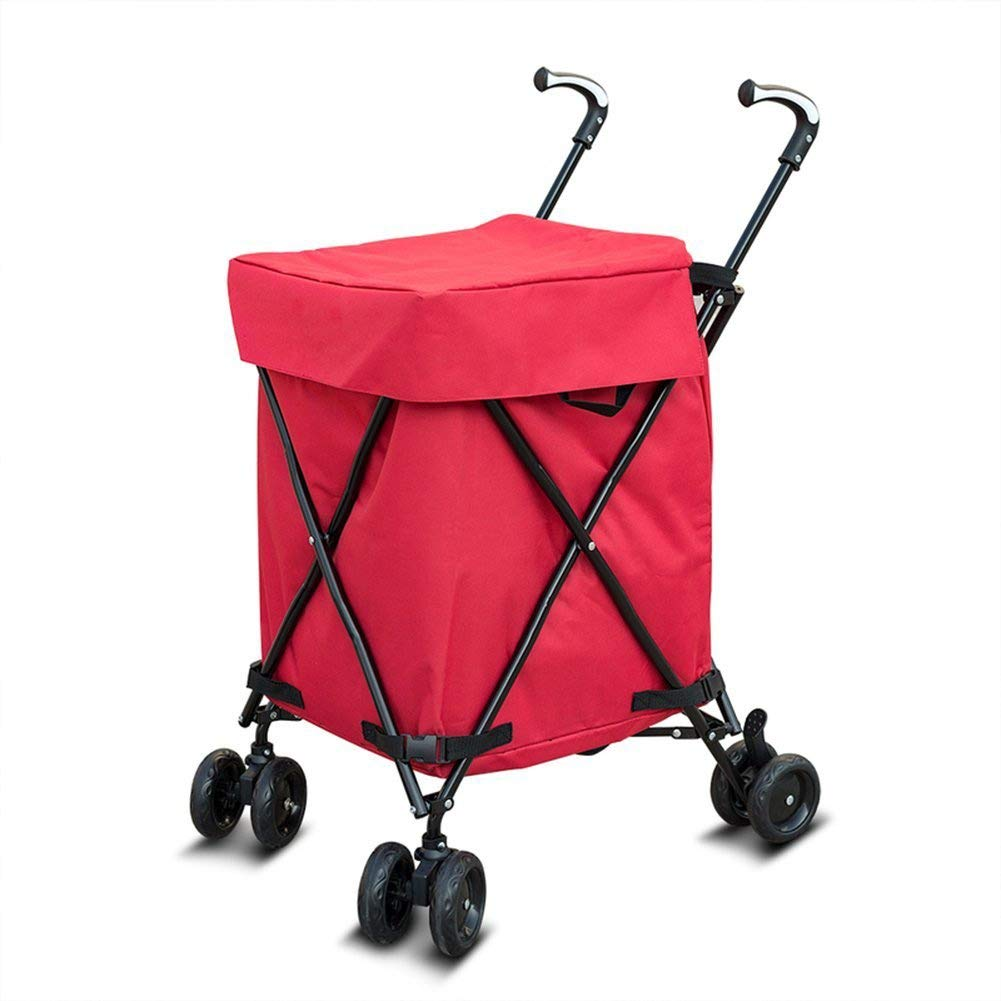 Folding Shopping Cart, Multifunctional Transit Utility Cart,Transport Up To 330 Pounds (Water-Resistant Heavy Duty Canvas) 82L black GZHICC