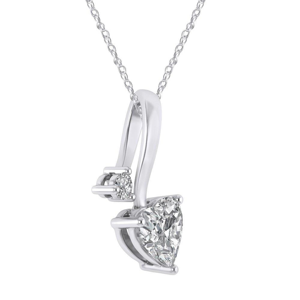 925 Sterling Silver Cubic Zirconia Love Heart Bridal Pendant Necklace Screw Back Stud Earrings Set by Pretty Jewels (Image #3)