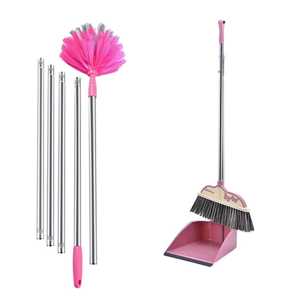 Lsxlsd Dustpan & Brush Upright Long-Handled Dustpan And Brush Broom Cleaning Set Soft Broom Indoor Sweeping Broom (Color : Pink three-piece suit) by Lsxlsd