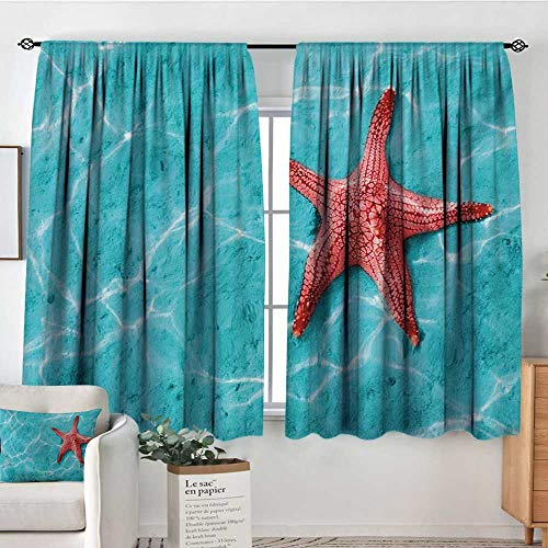 Mozenou Starfish Room Darkening Curtains Red Starfish in The Vibrant Blue Water Sun Rays Reflection Aquatic Tropical Life Decorative Curtains for Living Room 55