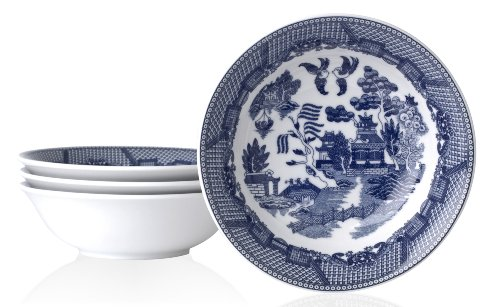HIC Blue Willow Cereal Bowl, Fine White Porcelain, 6.5-Inches, 16-Ounce Capacity, Set of 4