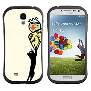 "Hypernova Slim Fit Dual Barniz Protector Caso Case Funda Para SAMSUNG Galaxy S4 IV / i9500 / i9515 / i9505G / SGH-i337 [Arte abstracto amarillo Gato Dibujo""]"