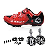Kukome Men Women Mountain Bike Shoes And Pedals(b-red + Black,us7.5/eu40/ft25.5cm) | amazon.com