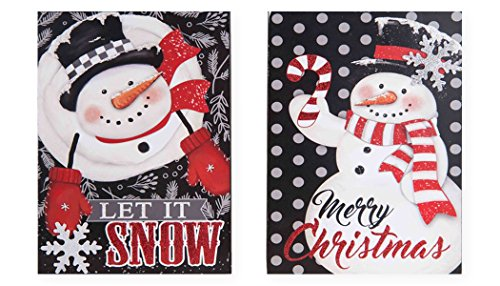 Plaque Snowman Wood Family (Merry Christmas and Let It Snow Snowman 9.5 x 7 Wood Christmas Sign Plaque Set of 2)