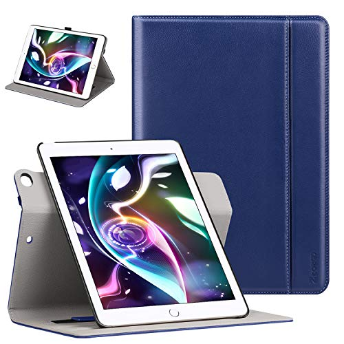 Ztotop Case for iPad 9.7 Inch 2017/2018,[360 Degree Rotating/Genuine Leather] with Auto Wake/Sleep,Pencil Holder,Hand Strap for New iPad Education,iPad 9.7 2017,iPad Air 2,Navy Blue