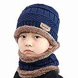 Kids Boys Girls Warm Fleece Lining Beanie Snow Hat and Scarf Set