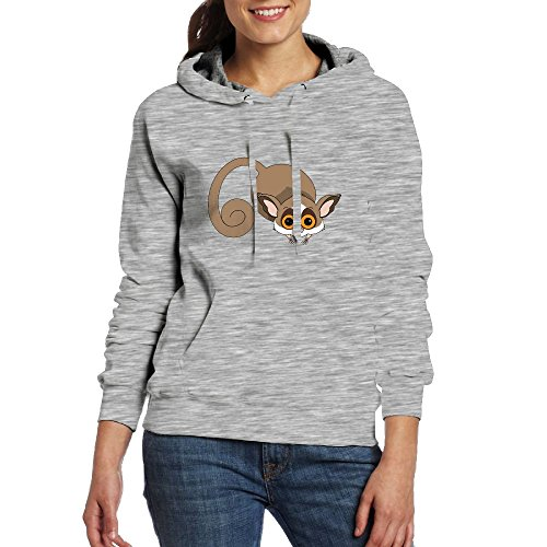 Womens Cute Ring-Tailed Lemur Monkey Of Madagascar Comfy Hoodies Jogging Pullover With Kangaroo Pocket from PWLLS