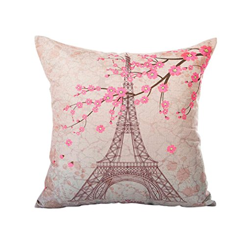 Pillow Cases Sofa Eiffel Tower Cushion Cover Home Decor Headrest Cushion Cover Case Hemlock (D) (Sales Sofa Day Boxing)