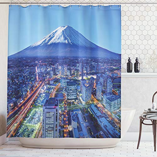 Ambesonne Wanderlust Decor Collection, Skyline Of Mt. Fuji and Yokohama Japan Financial District Mountain Volcano Picture Print, Polyester Fabric Bathroom Shower Curtain, 75 Inches Long, - Mt Fuji Japan Volcano
