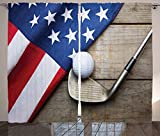 Sports Decor Collection Golf Ball with Flag of USA on Wood Table Patriotism Rustic Country Picture Living Room Bedroom Curtain 2 Panels Set Ivory Navy Red White