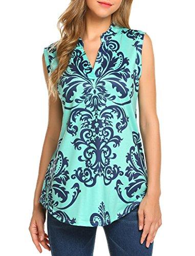 Halife Women's Sleeveless Floral Print V Neck Henley Tank Tops Blouse Shirts Tunic (L, Green) (V-neck Top Long Sleeve Tank)