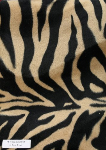 Velboa Animal Print Faux / Fake Fur Zebra Brown Fabric By the Yard