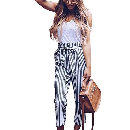 Leggero Coulisse High Casual Elastico Donna Waist Pants Elegante Pantalone Mode Con Strappy Tasche Stripe Bianca Moda Di Marca Lunga 6xqEXg