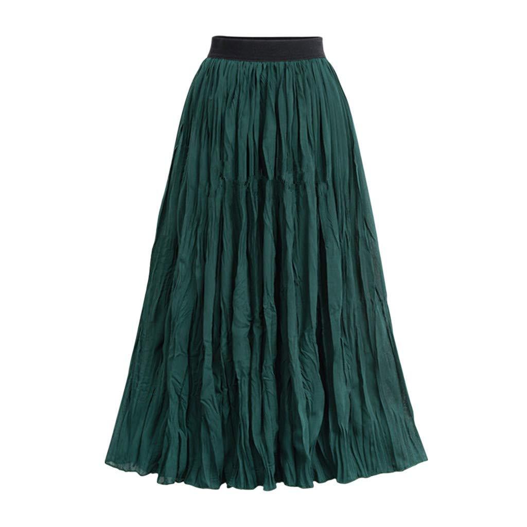Green Farmerl Women High Waist Pleated Ankle Length Beach Wedding Party Maxi Skirt
