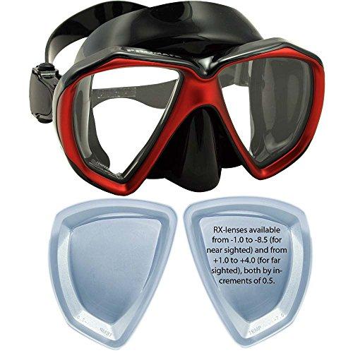 Farsighted Prescription Mask for Scuba Dive Snorkel, Bk/Red, Farsight+1.5 (Best Prescription Dive Mask)