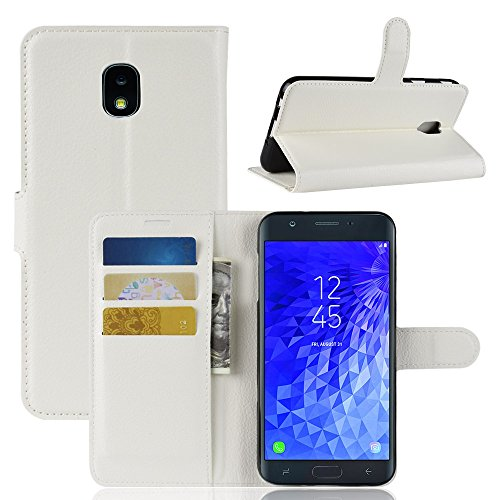- AICEDA for Samsung Galaxy J7 (2018) Genuine Leather Wallet Case Cover, Flip Stand, Card Slot, Stylish, White