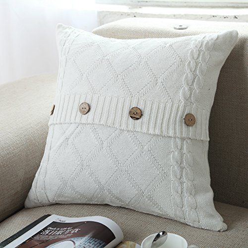 Make Removable Throw Pillow Covers : Home-organizer Tech Cotton Removable Knitted Decorative Pillow Case Cushion Cover Cable Knitting ...