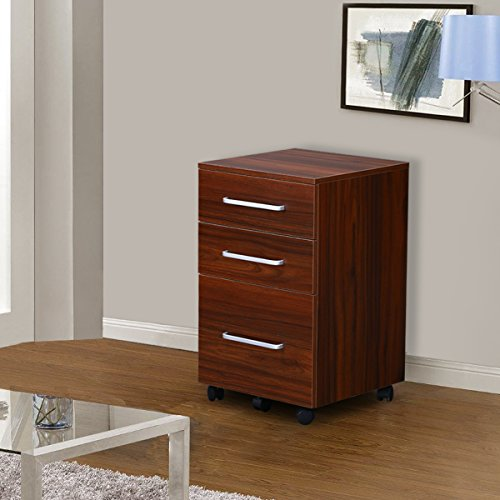 3 Drawer Wood File Cabinet with Wheels by DEVAISE in Black/Walnut(15.7*15.7*25.8) (Walnut) (Walnut Cabinet)