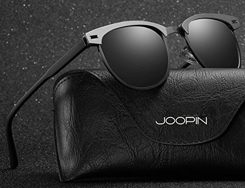 abd495b75c Joopin Semi-Rimless Polarized Sunglasses Women Men Brand Vintage Sun Glasses  (Black Metal)  Amazon.co.uk  Clothing