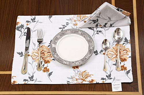 "Ruvanti Placemats for Dinning Table .100% Cotton Woven (13x19 "") Placemats Set of 6 Leaf Placemats/Fall Placemats Orange & Grey Floral Farmhouse Tablemats for Christmas/Thanksgiving Dinners."