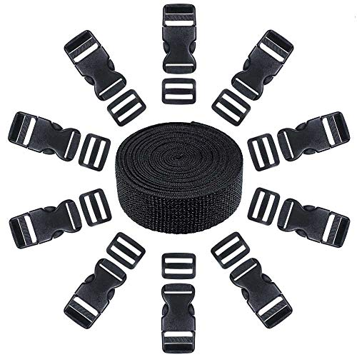 West Coast Paracord 21 Piece Set of 10 Black Plastic 1 Inch Flat Side Release Buckles, 10 Tri-Glide Adjustment Clips, 1 Compatible 10 Yard Roll of 1 Inch Wide Black Nylon Web Strapping ()